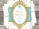 Prince Baby Shower Invites Royal Prince Baby Shower Invitation Blue Gold Silver