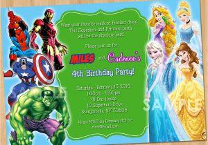 Princess and Superhero Party Invitation Template Double Party Invitation Superheroes and Princesses