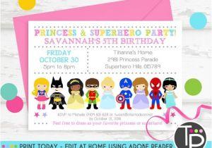 Princess and Superhero Party Invitation Template Princess Superhero Party Invitation Instant Download