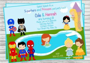 Princess and Superhero Party Invitation Template Princess Superhero Party Invitations Home Party Ideas