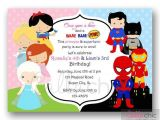 Princess and Superhero Party Invitation Template Princesses and Superheroes Birthday Invitation Printable
