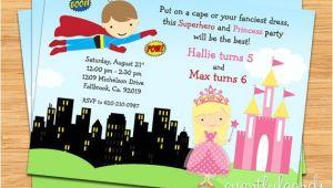 Princess and Superhero Party Invitation Template Superhero and Princess Birthday Party Invitation Printable
