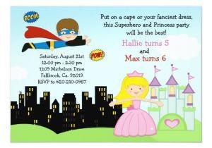 Princess and Superhero Party Invitation Template Superhero and Princess Birthday Party Invitation Zazzle Com