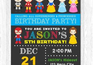 Princess and Superhero Party Invitation Template Superhero and Princess Invitation Superhero and by Kidzparty