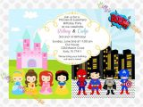 Princess and Superhero Party Invitation Template the Princess and the Superheroes are Next to Each Other In