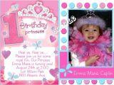Princess First Birthday Invitation Wording Princess 1st Birthday Invitations