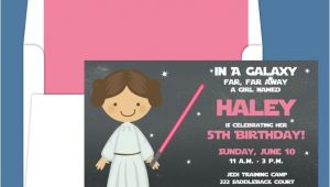 Princess Leia Party Invitations Star Wars Princess Leia Light Saber Birthday Party