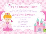 Princess Party Invitation Template Princess Birthday Party Invitations Wording Free
