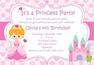 Princess Party Invitation Template Princess Birthday Party Invitations Wording Free
