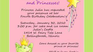 Princess Party Invite Wording Princess theme Birthday Party Invitation Custom Wording