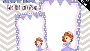 Princess sofia Birthday Invitation Blank Template sofia the First Blank Birthday Invitation Template Purple