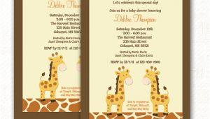 Print Yourself Baby Shower Invitations Giraffe Jungle Neutral Twin Boy Baby Shower Invitation