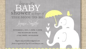 Printable Baby Shower Invitations Elephant theme Baby Shower Invitation Elephant Yellow and Grey Printable