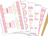 Printable Birthday Invitation Kits Pink and Gold Party Invitation Decorations Kit Printable