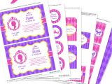 Printable Birthday Invitation Kits Princess Party Invitation Decorations Kit Printable