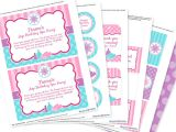 Printable Birthday Invitation Kits Spa Party Invitation Decorations Kit Printable Birthday