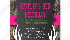 Printable Pink Camo Birthday Invitations Camo Girl Printable Invitation Hunting Realtree Diy