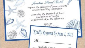 Printable Seashell Wedding Invitations Seashell Wedding Invitation and Response Card by