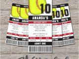 Printable softball Birthday Invitations softball Ticket Birthday Invitation Printable Diy by