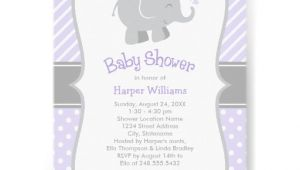 Purple and Gray Elephant Baby Shower Invitations Elephant Baby Shower Invitations