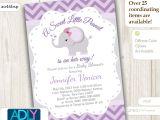 Purple and Gray Elephant Baby Shower Invitations Purple Grey Elephant Invitation for Baby Shower Little Peanut
