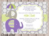 Purple and Green Baby Shower Invitations Elephant Invitation Purple Elephant Invite Elephant Baby