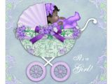 Purple and Green Baby Shower Invitations Purple and Green African American Baby Girl Shower 5 25