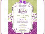 Purple and Green Baby Shower Invitations Purple Baby Shower Invitations