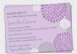 Purple and Grey Baby Shower Invitations Baby Shower Invitation Printable Girl Purple and Lavender with