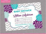 Purple and Grey Baby Shower Invitations Floral Purple Aqua Blue Baby Shower Invitation by