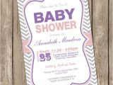 Purple and Grey Baby Shower Invitations Girl Baby Shower Invitation Purple and Grey Chevron Printable