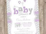 Purple and Grey Baby Shower Invitations Lavender Purple and Grey Baby Shower Invitation Chevron