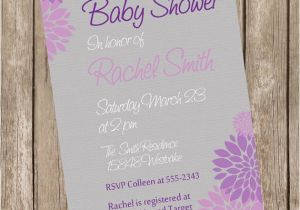 Purple and Grey Baby Shower Invitations Neutral Baby Shower Invitation Purple and Grey Flower