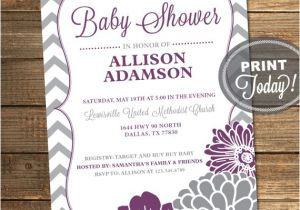 Purple and Grey Baby Shower Invitations Purple and Gray Baby Shower Invitation by Invitingdesignstudio