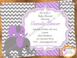 Purple and Grey Baby Shower Invitations Purple and Grey Elephant Baby Shower Invitation Purple