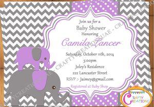Purple and Grey Baby Shower Invitations Purple and Grey Elephant Baby Shower Invitation Purple