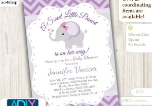 Purple and Grey Baby Shower Invitations Purple Grey Elephant Invitation for Baby Shower Little Peanut