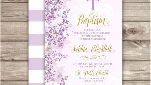 Purple Baptism Invitations Baptism Invitations Flowers Cross Purple Gold Printed or