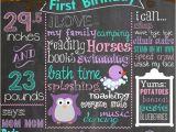 Purple Owl First Birthday Invitations First Birthday Colored Chalkboard Poster Invitation