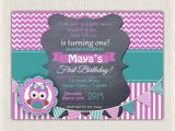 Purple Owl First Birthday Invitations Girls 1st Birthday Invitation Purple Green Owl