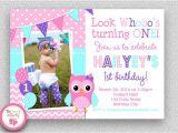 Purple Owl First Birthday Invitations Girls Birthday Invitation Girls 1st Birthday Invitation