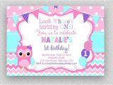 Purple Owl First Birthday Invitations Pink Purple Turquoise Owl Invitation Girls Owl Birthday