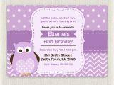 Purple Owl First Birthday Invitations Purple Birthday Invitation Girls Owl Lavender 1st 2nd 3rd