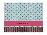 Quarter Fold Party Invitation Template Invitation Note Card Pink and Blue Quarter Fold A2 Size