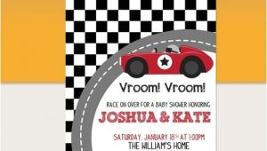 Race Car Baby Shower Invitations Vintage Red Racing Car Baby Shower Invitation Printable
