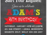 Race Car Party Invitation Templates Boy Birthday Invitations Red Race Car Chalkboard Birthday