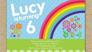 Rainbow themed Birthday Party Invitations Rainbow Birthday Party Invitation Modern Rainbow Birthday