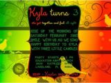 Rasta Party Invitations Bob Marley Rasta Three Little Birds themed Birthday
