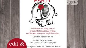 Re Gift Party Invitation Christmas Re Gift Party White Elephant Party New Years
