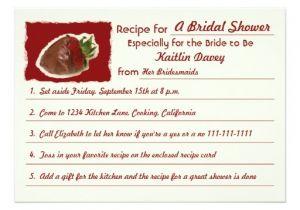 Recipe themed Bridal Shower Invitation Wording Recipe Bridal Shower Invitations